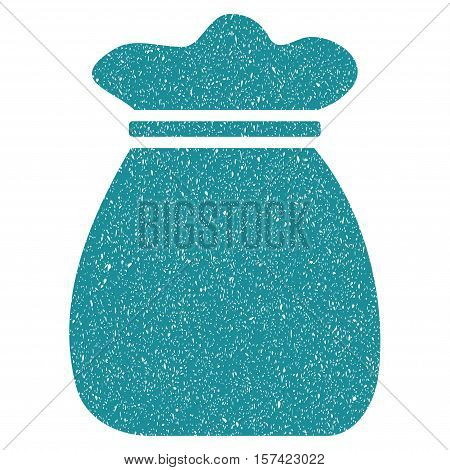 Money Bag grainy textured icon for overlay watermark stamps. Flat symbol with dust texture. Dotted vector soft blue ink rubber seal stamp with grunge design on a white background.