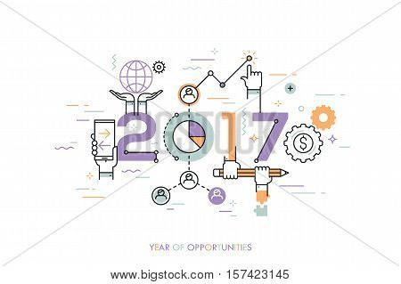Infographic concept 2017 year of opportunities. New trends and prospects in global business communication, networking, teamwork strategies. Hopes and fears. Vector illustration in thin line style.