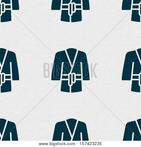 Bathrobe Icon Sign. Seamless Pattern With Geometric Texture. Vector