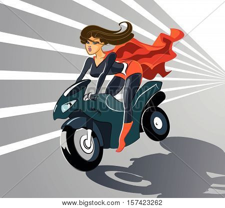 Super hero driving on motorcycle. Vector illustration
