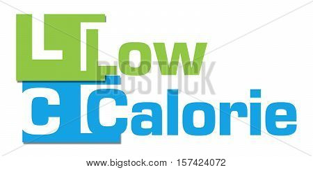 Low calorie text alphabets written over blue green background.