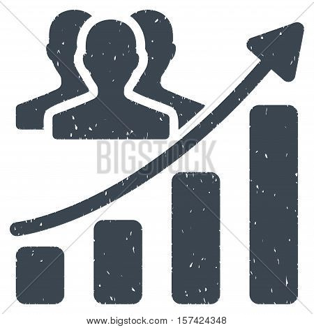 Audience Growth Chart grainy textured icon for overlay watermark stamps. Flat symbol with dust texture. Dotted vector smooth blue ink rubber seal stamp with grunge design on a white background.