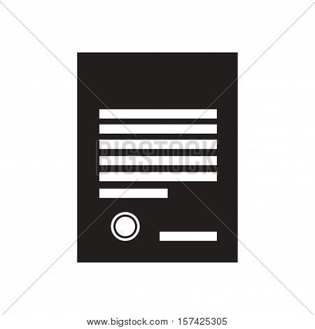 Flat icon in black and  white document