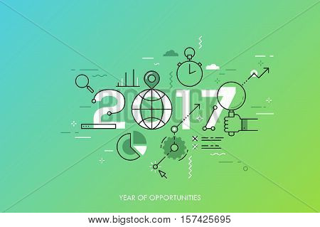 Infographic concept 2017 year of opportunities. New global trends and perspectives in online search, internet tools for business and project management. Vector illustration in thin line style.