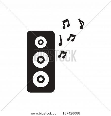 Flat icon in black and  white musical speaker