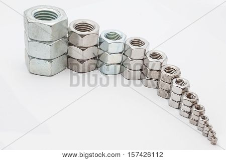 several iron bolts from M30 to M3 from big to small