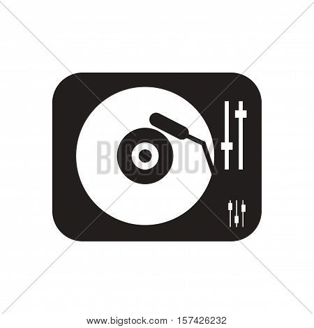 Flat icon in black and  white phonograph