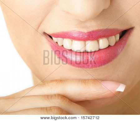 Close-up of a woman lips and teeth