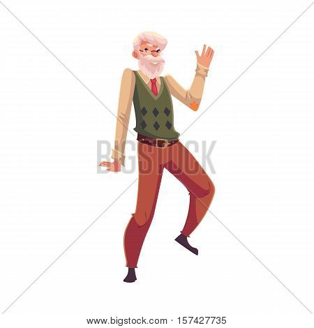 Old, senior, gray-haired man dancing happily, cartoon style vector illustration isolated on white background. Full length portrait of old gentleman with white moustache and beard dancing