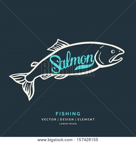 Modern hand drawn lettering word Salmon. Calligraphy brush and ink. Vector illustration Fish