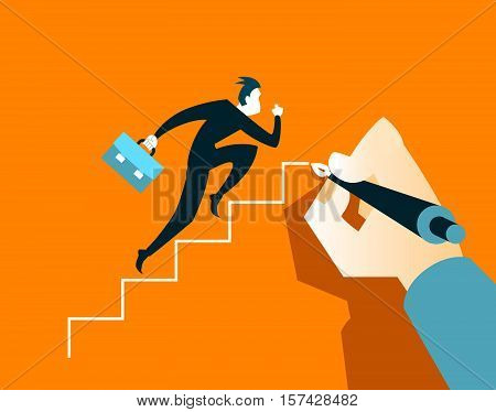 Businessman running on the steps. Hand draws a ladder
