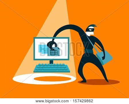 The swindler steals data. Hacker. Vector illustration