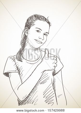 Sketch of teenager girl showing thumb up, Hand drawn vector illustration