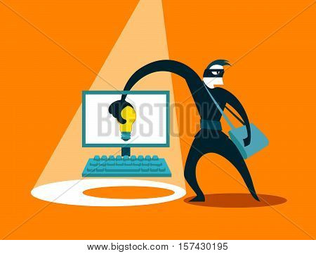 The swindler steals idea. Hacker. Vector illustration