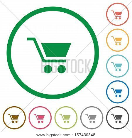 Empty cart flat color icons in round outlines