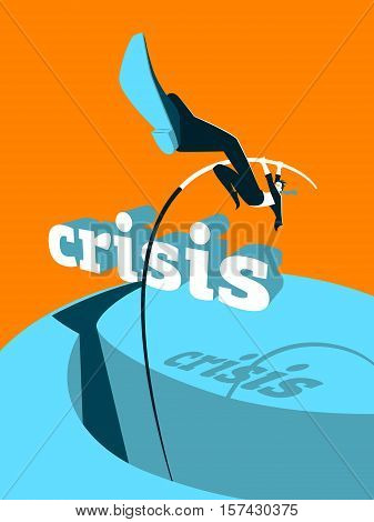 Crisis overcoming. Adversity, conquering, jumping, crisis, business