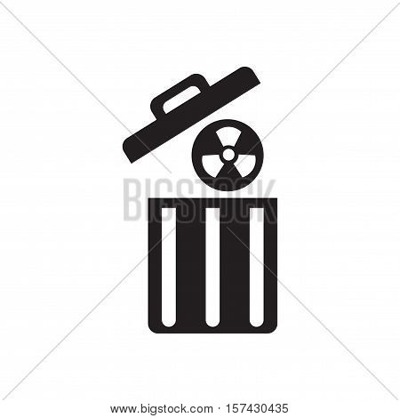 Flat icon in black and  white radioactive waste