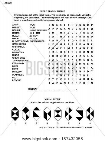 Puzzle page with two brain games: dogs themed word search puzzle (English language) and visual puzzle.  Black and white, A4 or letter sized. Answer included.