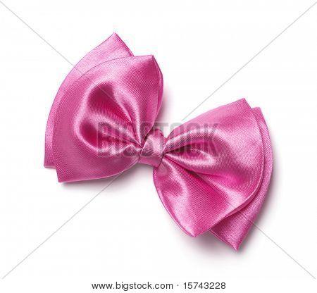 pink gift satin ribbon bow on white background