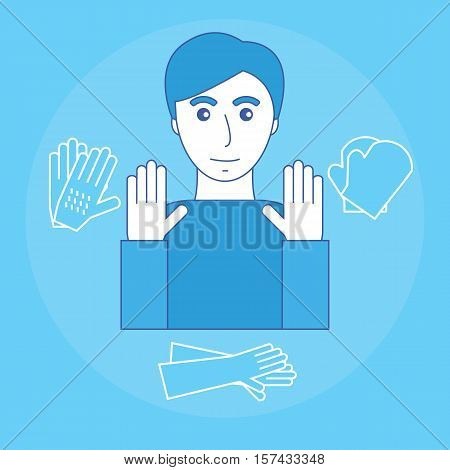Image of a man and a glove to protect your hands. Personal protective equipment for the hands. Vector illustration.