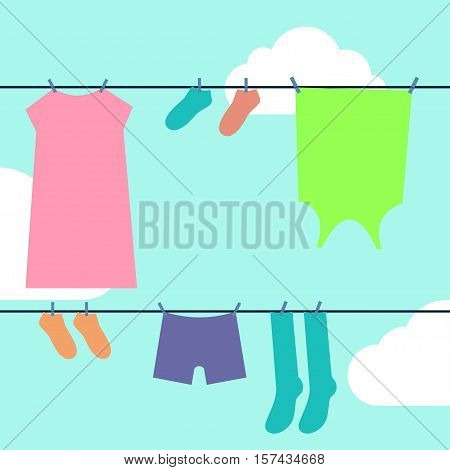 Laundry drying Vector illustration Laundry drying on the clothesline against blue sky with clouds