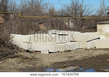 Piled In A Heap Of Concrete Blocks. Construction Materials