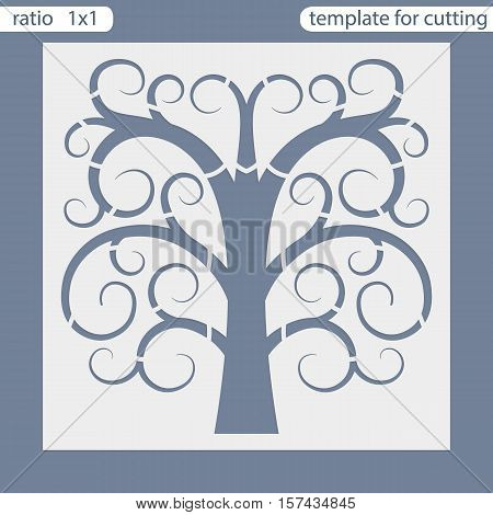 Laser cut wedding invitation card template. Cut out the paper square card. Greeting card template for cutting plotter. Natural tree ornament. Vector.