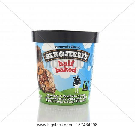 IRVINE CALIFORNIA - NOVEMBER 16 2016: A carton of Ben and Jerrys half baked Ice Cream. The Vermont based company produced gourmet ice creams with unusual names.