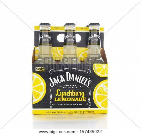 IRVINE CALIFORNIA - NOVEMBER 16 2016: A 6 pack of Jack Daniels Lynchburg Lemonade. A cocktail made with Triple Sec whiskey Sour Mix and Lemon Lime Soda.