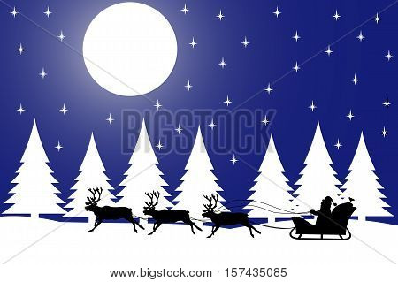 Vector illustration the silhouette of Christmas night in the winter forest.