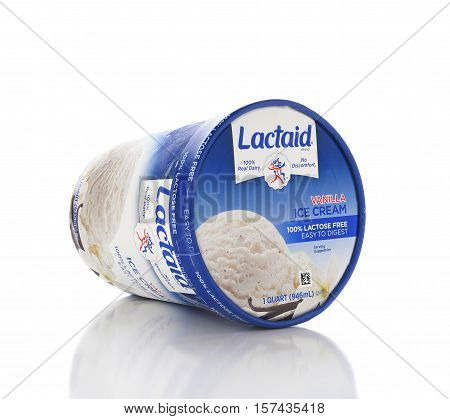 IRVINE CALIFORNIA - NOVEMBER 16 2016: A carton of Lactaid Lactose Free Vanilla Ice Cream. Lactaid makes a full line of lactose free dairy products that can be enjoyed without stomach discomfort.