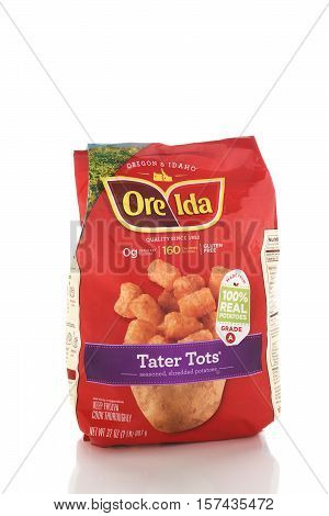 IRVINE CALIFORNIA - NOVEMBER 16 2016: A package of Ore-Ida Tater Tots. Ore-Ida produces nearly half the frozen potato products sold in the USA.