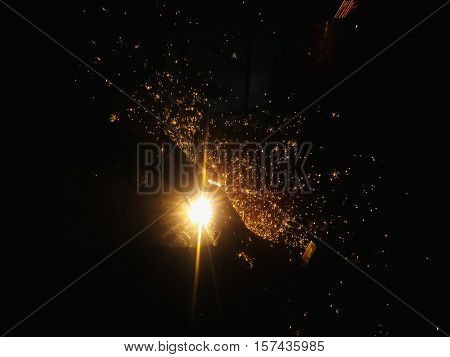 Metal Welding with sparks in industry steel weld