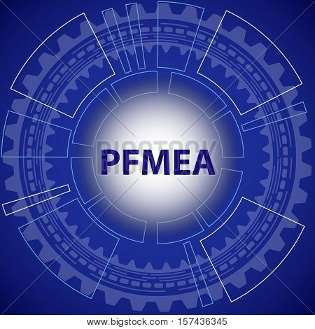 Process failure mode and effect analysis strategy background. Blue background with gear and title PFMEA in middle.