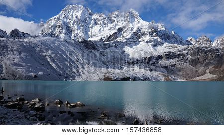 Himalayas. View from Gokyo Ri 5360 meters up in the Himalaya Mountains of Nepal snow covered high peaks and lake.