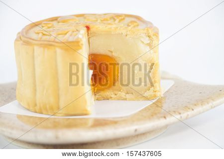 Mooncake on white background, mooncake is a dessert made up for the Mid-Autumn Festival.