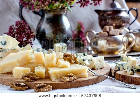 Parmesan And Other Cheeses With Nuts.