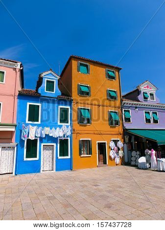 Colorful old houses on the Island of Burano near Venice, Italy