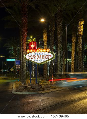 The Downtown Las Vegas Sign At Night