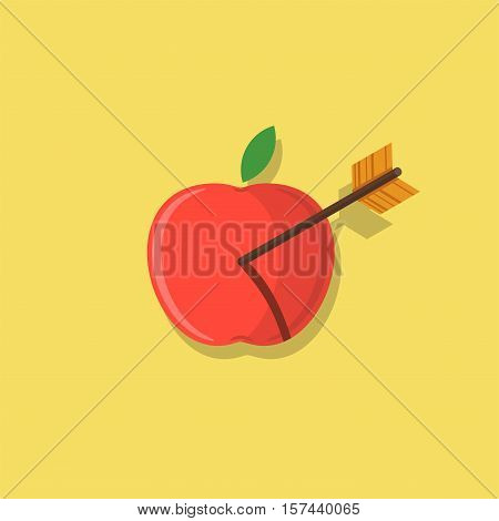 Abstract apple shot with an arrow flat design icon illustration
