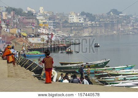 Hindu People Wash Themselves In The River Ganga