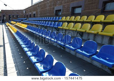 Rows for spectators at a sports stadium