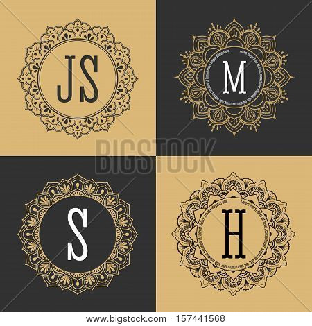 Monogram circle frame vintage luxury style. Elegant circle frame for border logo rubber stamp wedding frame emblem and label. Logo template for spa and hotel. Vector illustration