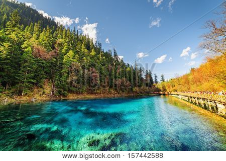Fantastic View Of The Five Coloured Pool (the Colorful Pond)