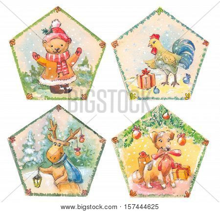 cristmas set of watercolor illustrations. Dog bear rooster deer. Drawing for postcard package design fridge magnets stickers children's goods. Vintage style. Cute sketch of animals.