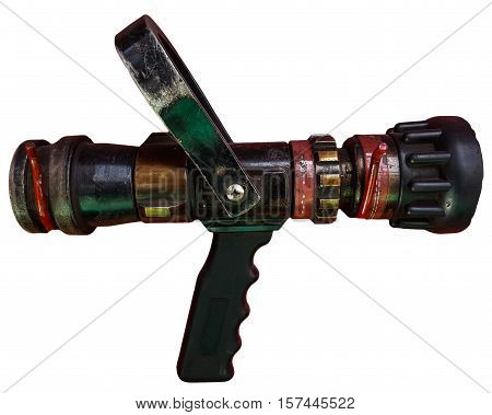 hose with and nozzle.  Isolated on white background.