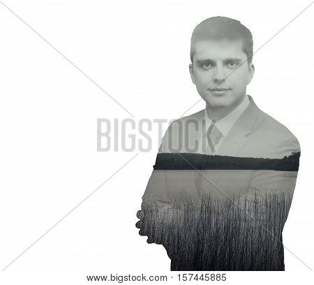 Detective man. Double exposure. black and withe composition