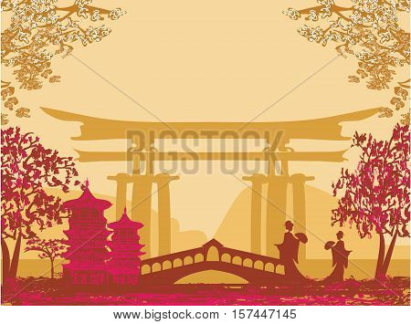 Geisha silhouette at sunset Japanese landscape , vector illustration