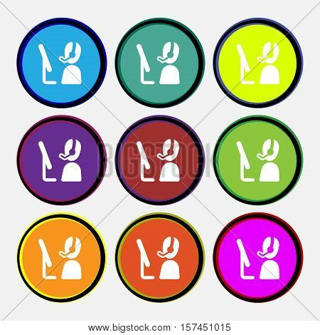 Telemarketing Icon Sign. Nine Multi Colored Round Buttons. Vector