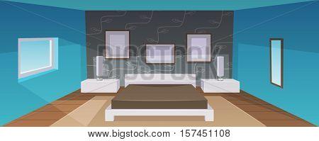 Modern bedroom interior with furniture, cartoon vector illustration.